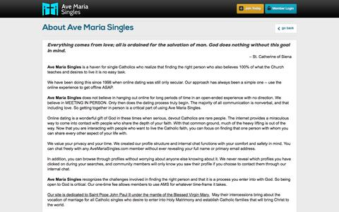 Screenshot of About Page avemariasingles.com - Where devout Catholic singles find their match - captured March 30, 2018