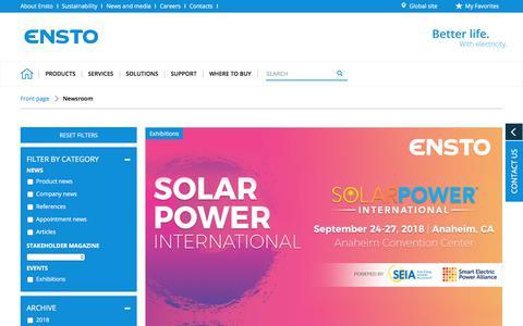 Screenshot of Press Page ensto.com - Newsroom - Ensto - captured July 19, 2018