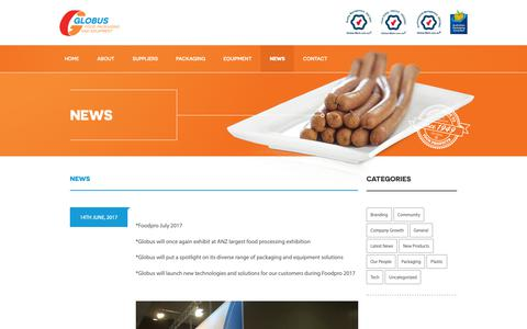 Screenshot of Press Page globusgroup.com.au - News | Globus Group - Food Packaging and Equipment - captured Dec. 15, 2018
