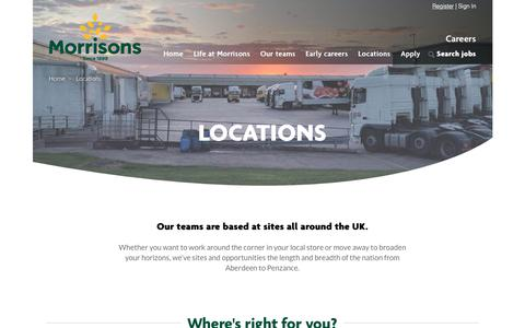 Screenshot of Locations Page morrisons.jobs - Locations | Morrisons Careers - captured Dec. 12, 2018