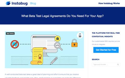 Screenshot of Terms Page instabug.com - What Beta Test Legal Agreements Do You Need For Your App? | Instabug Blog - captured Dec. 3, 2019