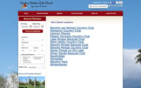 Screenshot of Locations Page vacationrentalsofthedesert.com - Vacation Rentals of the Desert Home Page - captured Jan. 12, 2016