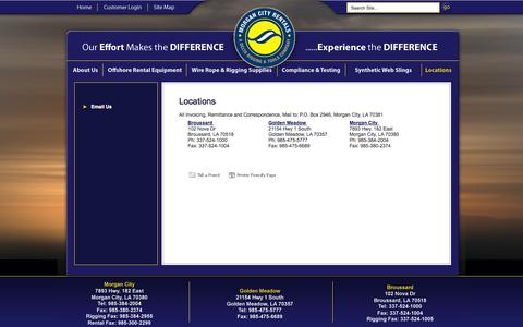 Screenshot of Locations Page morgancityrentals.com - Morgan City Rentals | Locations - captured Oct. 7, 2014