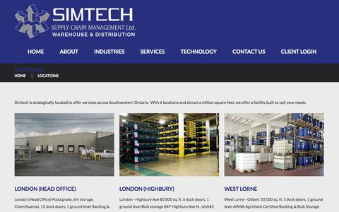 Screenshot of Locations Page simtechwarehousing.com - Locations  |  Simtech Supply Chain Management Warehousing and Distribution – 3PL Warehousing - captured Feb. 27, 2016