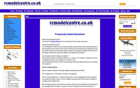 Screenshot of FAQ Page rcmodelcentre.co.uk - Frequently Asked Questions - captured Oct. 31, 2014