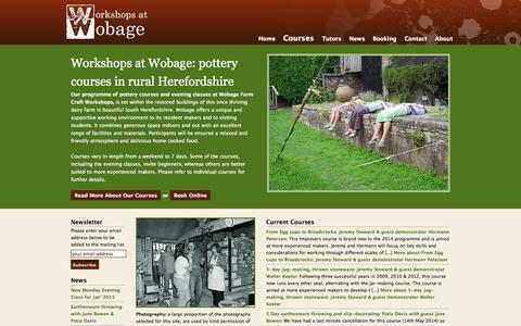 Screenshot of Home Page workshops-at-wobage.co.uk - Pottery Courses UK : Workshops at Wobage - captured Oct. 6, 2014