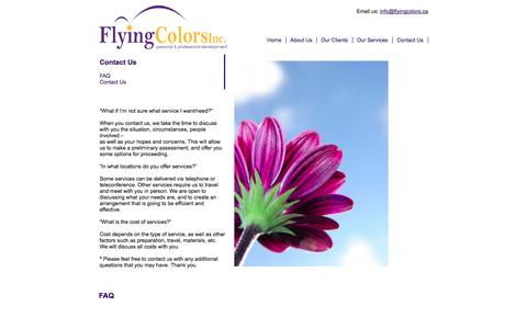 Screenshot of FAQ Page flyingcolors.ca - FAQ | Flying Colors Conflict Management - captured Oct. 6, 2014