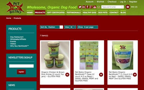 Screenshot of Products Page petbistro.us - Healthy Dog Treats Products - captured Dec. 8, 2015