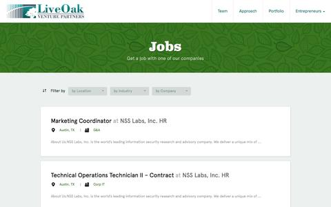 Screenshot of Jobs Page liveoakvp.com - LiveOak Venture Partners -    Jobs - captured Oct. 3, 2014