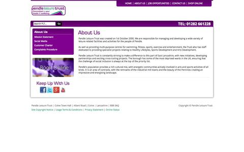 Screenshot of About Page pendleleisuretrust.co.uk - About Us - Sports, Recreation, Arts & Entertainment facilities and service in Pendle   Pendle Leisure Trust - captured Sept. 26, 2014