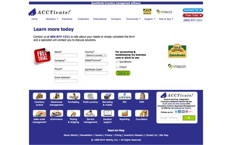 Screenshot of Trial Page acctivate.com - Inventory Management Software for QuickBooks ~ ACCTivate! - captured Sept. 18, 2014