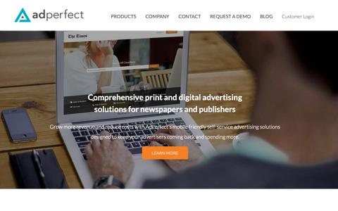 Screenshot of Home Page adperfect.com - AdPerfect - Self-Service Classifieds and Marketplace Solutions - captured Nov. 6, 2018
