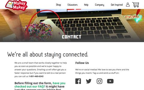 Screenshot of Contact Page makeymakey.com - Makey Makey | Contact – Makey Shop - captured July 27, 2018