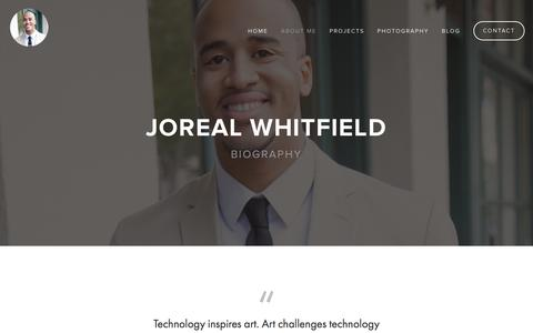 Screenshot of About Page jorealwhitfield.com - About Me — Joreal Whitfield - UI/UX Designer - captured March 23, 2016