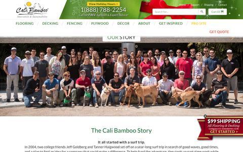 Screenshot of About Page calibamboo.com - Our Story - CaliBamboo GreenShoots - captured Dec. 26, 2015