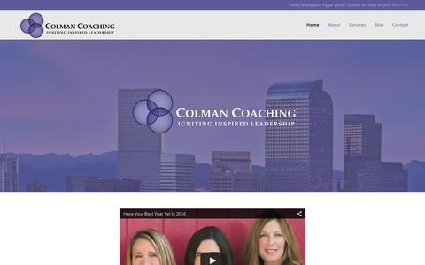 Screenshot of Home Page colmancoaching.com - Executive Coach - Kendall Colman - captured Dec. 10, 2015