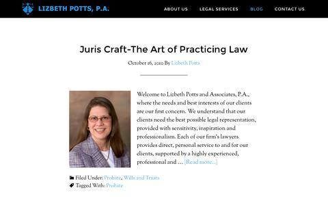 Screenshot of Blog liz-law.com - Tampa Bay Legal Services | Blog | Tampa Bay Attorney | Lizbeth Potts, P.A. - captured Oct. 3, 2014