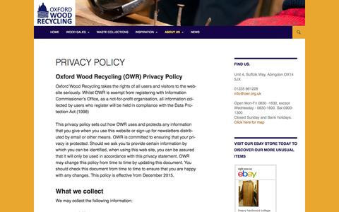 Screenshot of Privacy Page oxfordwoodrecycling.org.uk - Privacy Policy | Oxford Wood Recycling - captured Jan. 11, 2016