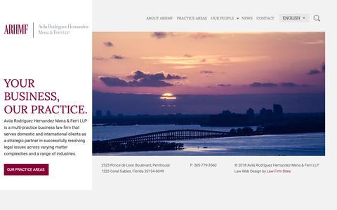 Screenshot of Home Page arhmf.com - Home - Avila Rodriguez Hernandez Mena & Ferri LLP - captured Nov. 13, 2018