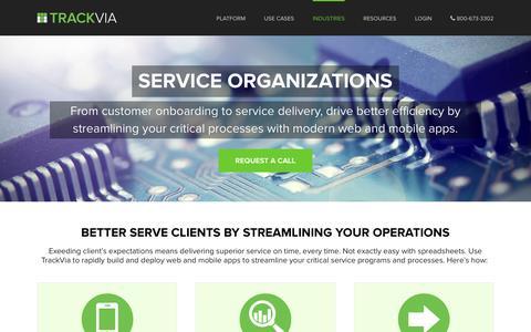 Screenshot of Services Page trackvia.com - Service Business Software | TrackVia - captured March 9, 2017