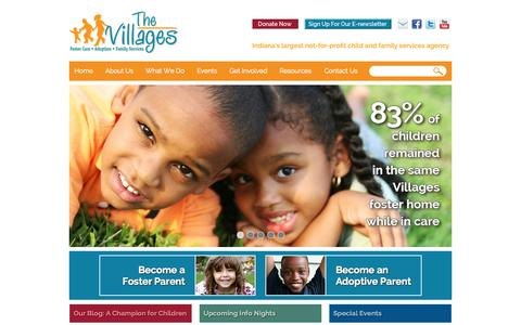 Screenshot of Home Page Blog About Page Contact Page Press Page Team Page villages.org - Foster Care, Adoption, Family Services in Indiana | The VillagesThe Villages - captured Oct. 9, 2014