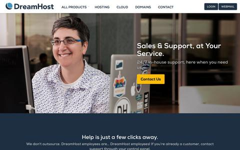 Screenshot of Support Page dreamhost.com - Web hosting, VPS, dedicated hosting contact DreamHost – DreamHost - captured Sept. 16, 2014
