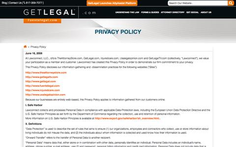 Screenshot of Privacy Page getlegal.com - Privacy Policy - GetLegal.com - captured Sept. 22, 2014