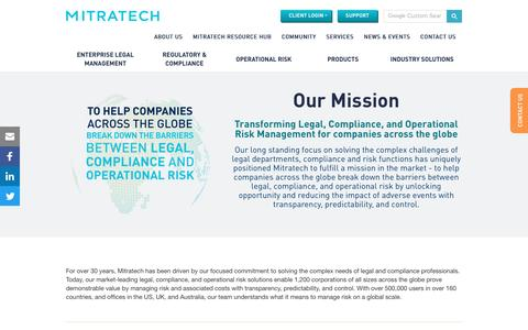 Screenshot of About Page mitratech.com - About Our Company - Mitratech - captured March 10, 2017