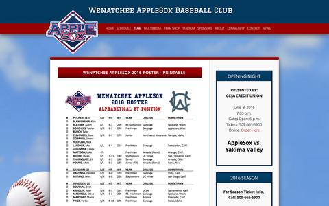 Screenshot of Team Page applesox.com - Roster — AppleSox - captured May 24, 2016