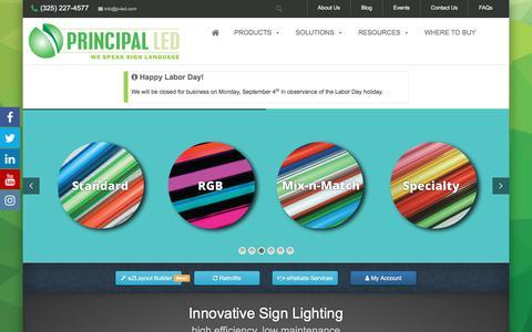 Screenshot of Home Page p-led.com - LED Lighting • Commercial LED Lighting • Principal LED - captured Aug. 31, 2017