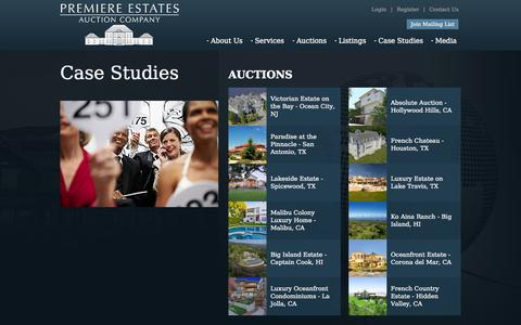Screenshot of Case Studies Page premiereestates.com - Premiere Estates Auction Company - Real Estate Auctions and Accelerated Marketing - captured Oct. 10, 2014
