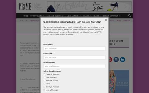 Screenshot of Terms Page primewomen.com - Terms of Use - Prime Women - captured July 3, 2015