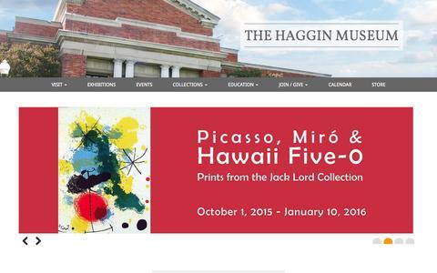 Screenshot of Home Page hagginmuseum.org - The Haggin Museum - captured Oct. 9, 2015