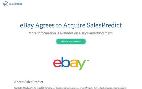 Screenshot of Home Page salespredict.com - eBay Announcement - captured July 12, 2016