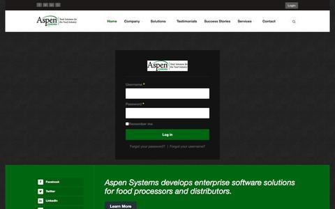 Screenshot of Login Page aspen-systems.com - Aspen Systems - captured Nov. 21, 2016