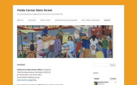 Screenshot of Contact Page fieldscorner.org - contact   Fields Corner Main Street - captured Nov. 3, 2014