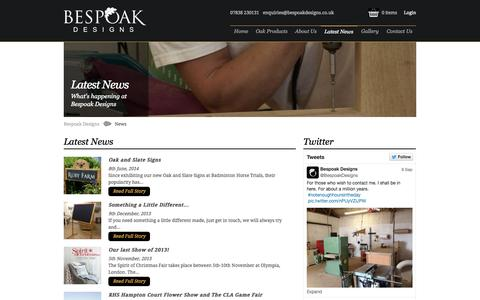 Screenshot of Press Page bespoakdesigns.co.uk - Latest News | Bespoke Wood Signs | Bespoak Designs - captured Sept. 30, 2014