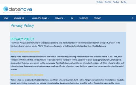 Screenshot of Privacy Page datanova.com.au - Privacy Policy - Datanova - captured Feb. 7, 2020