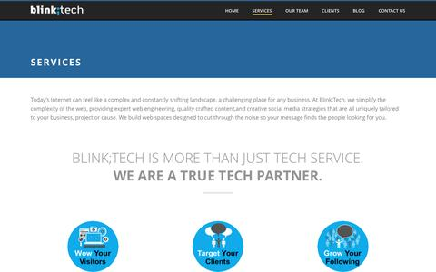 Screenshot of Services Page blink-tech.com - Blink;Tech offers a full range of Web Technology Services - captured July 29, 2016