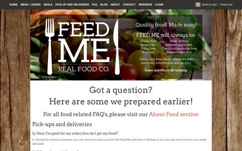 Screenshot of FAQ Page feed-me.com.au - FAQ – Feed Me - Real Food Co. - captured Nov. 3, 2014