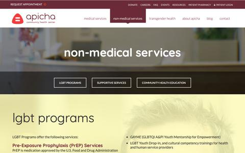 Screenshot of Services Page apicha.org - Health Education in New York City | APICHA Community Health Center - captured Oct. 3, 2018