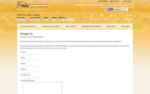 Screenshot of Contact Page Support Page friasproperties.com - Contact Us - captured Oct. 23, 2014