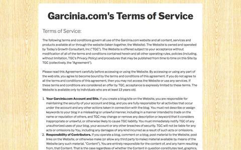 Terms of Service - Garcinia
