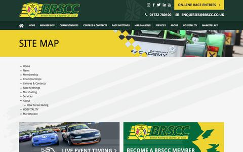 Screenshot of Site Map Page brscc.co.uk - Site map | BRSCC - British Racing & Sports Car Club - captured Aug. 1, 2018