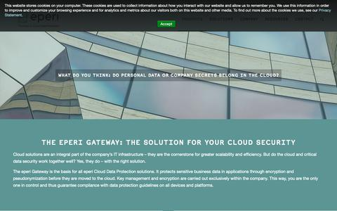 Screenshot of Products Page eperi.com - eperi Gateway – eperi - captured Nov. 2, 2018
