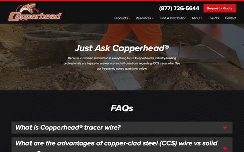 Screenshot of FAQ Page copperheadwire.com - CCS Tracer Wire FAQs | Copperhead Wire - captured Nov. 12, 2016