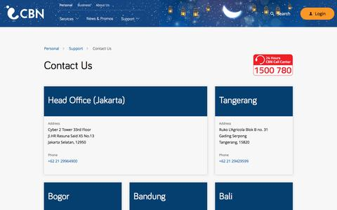 Screenshot of Contact Page cbn.net.id - Cyberindo Aditama | Personal: Support -  Contact Us - captured June 21, 2017