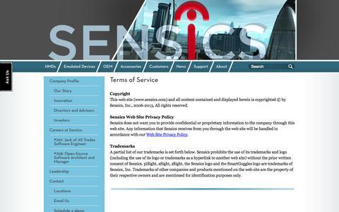 Screenshot of Terms Page sensics.com - Terms of Service - captured Sept. 17, 2014