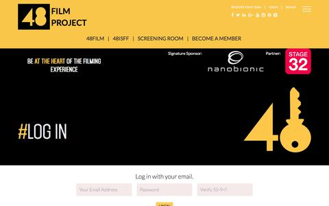 Screenshot of Login Page 48filmproject.com - Login to your 48Film Project Profile Page - captured Nov. 20, 2017