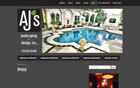 Screenshot of Press Page ajslandscaping.com - Press | AJ's Landscaping + Design, Inc. - captured Feb. 4, 2016